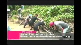 SAN MARTIN: MIEMBROS DEL EP LIMPIAN RIBERA DE LAGUNA TURÍSTICA (TV PERU 7.3)