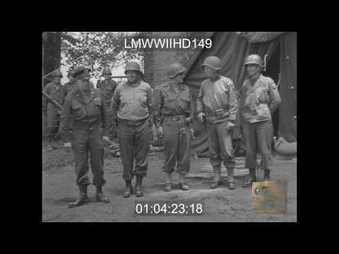BATTLE OF CHERBOURG, FRANCE ; GEN. DWIGHT D. EISNHOWER VISITS 2ND INF DIV, FRANCE 7/1/ - LMWWIIHD149