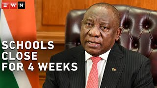 President Cyril Ramaphosa addressed the nation on Thursday evening and announced the closing of public schools for four weeks as part of South Africa's risk-adjusted strategy to manage the spread of COVID-19.  #CoronavirusSA #Schools #Ramaphosa