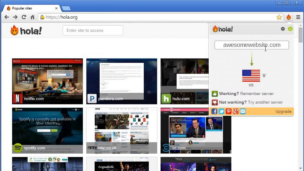 hola chrome extension getting