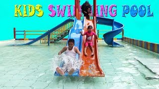 Very Fun to Launch in Swimming Pool, Kids Playing Water in the Swimming Pool