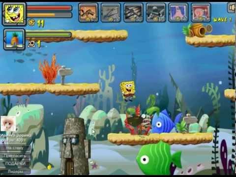 Игра Губка Боб против рыб зомби прохождение 9 левела