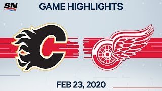 NHL Highlights | Flames vs. Red Wings - Feb. 23, 2020