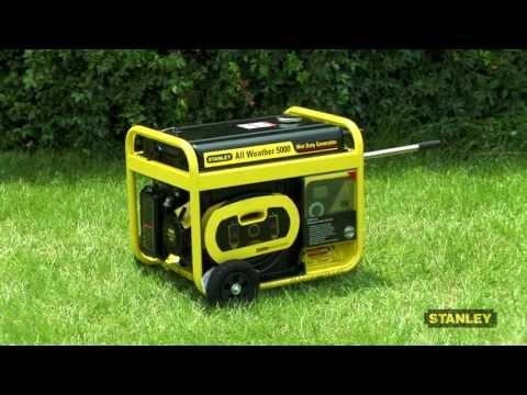 Stanley 5000 Watt, 6500 Surge Watt All Weather Generator with 24 Hour Run Time