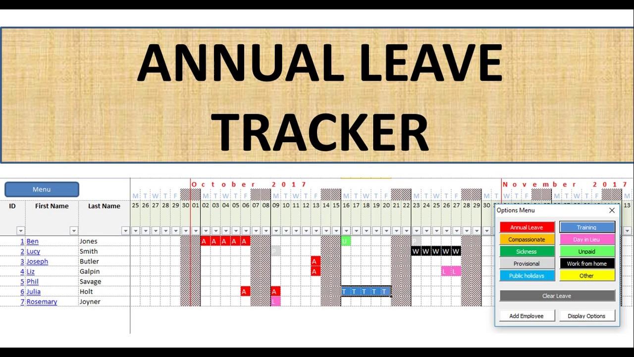 premium employee annual leave calendar youtube