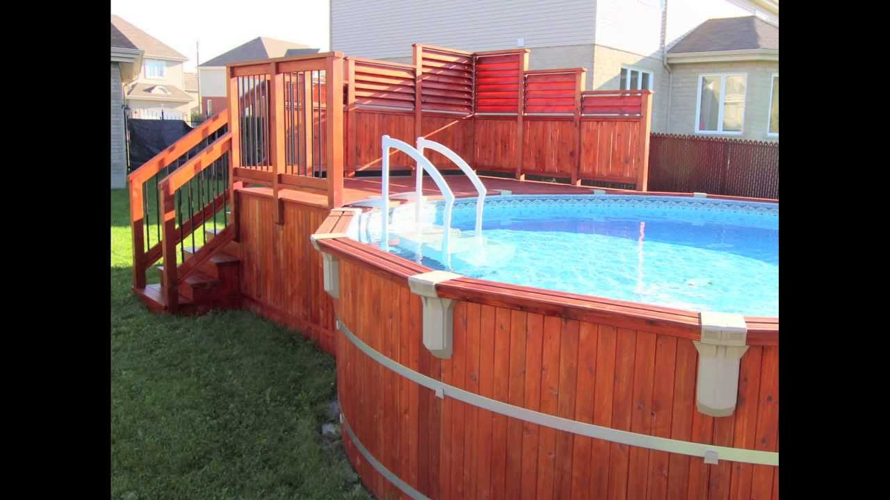 Deck de piscine hors terre en c dre isabelle pierrefonds for Construction pool house piscine