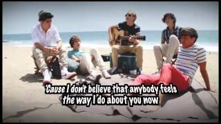 [HD] One Direction Sing Wonderwall (Video With Lyrics On Screen)