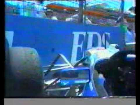 David Coulthard crashing upon entering pit Australian GP 1995