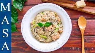 鮭魚和風奶醬燉飯/Salmon Wafu Cream Risotto  MASAの料理ABC