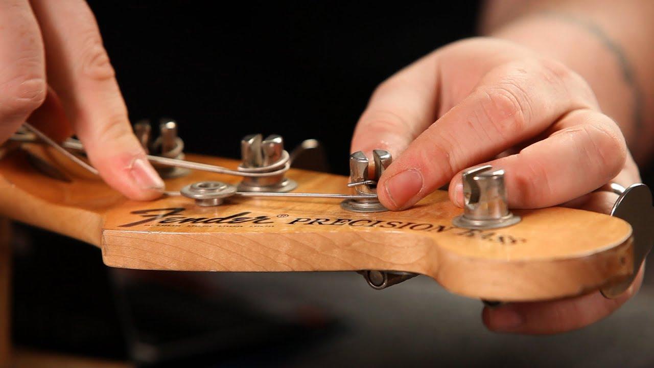 How To String A Fender Bass Guitar Guitar Setup Youtube