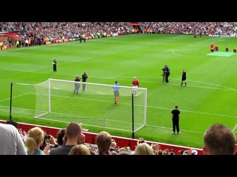Sir Bobby Charlton's first penalty kick in years