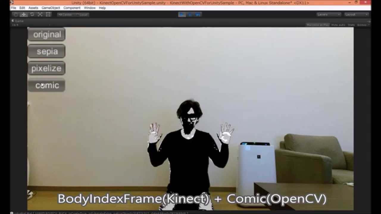 Kinect with OpenCV for Unity Example