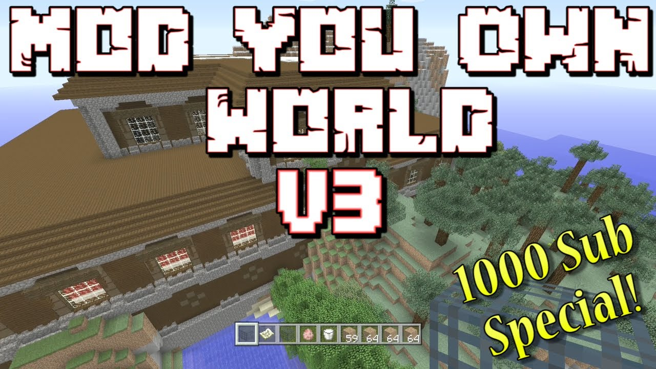 Minecraft: Mod Your Own World V3 Console Map W/Download(1000 Sub Special)
