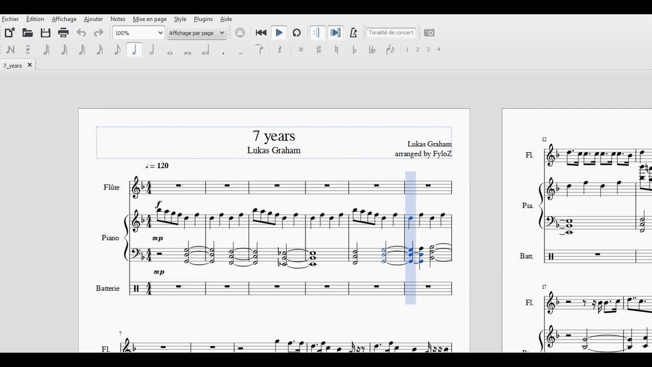 Top Lukas Graham - 7 Years | Flûte, Piano et Batterie | Partition par  RA56