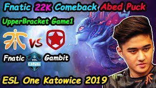 Fnatic Abed - [Puck] vs Gambit ESL One Katowice 2019 | Dota 2 Upper Bracket  Game1