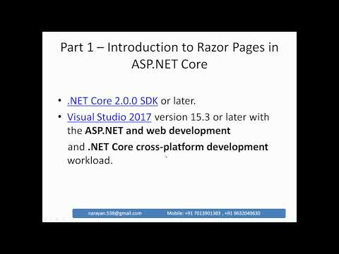 Part 1 - Introduction to Razor Pages in ASP.Net Core