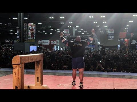 Brian Shaw's World Record Atlas Stone Lift (555lbs. 252kg) - 2016 Arnold Classic