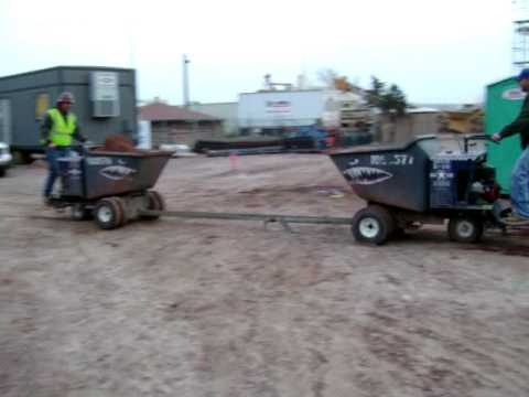 concrete buggy towed by concrete buggy