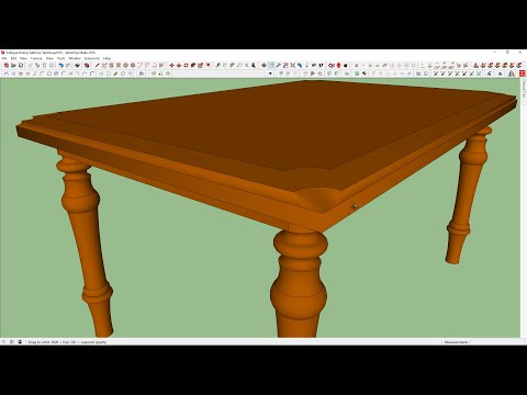 Antique Dining Table in Sketchup 2016