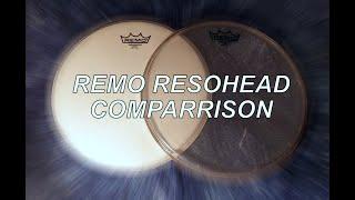 Remo Resonance Head Test Ambassador Clear vs Ambassador Coated