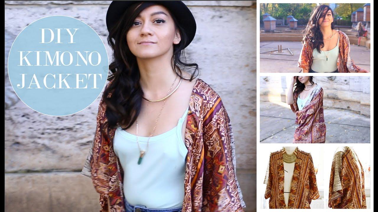 How to sew a simple Jacket Kimono DIY| Wie man eine Cardigan Jacke ...