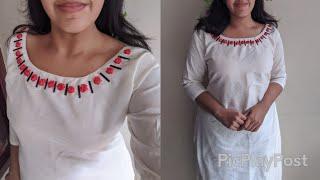 Satin ribbon കൊണ്ടു ഒരു simple embroidery work in churidar