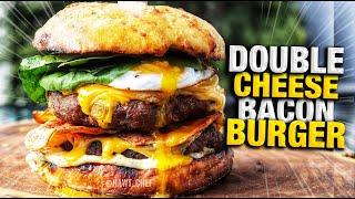 JUICY DOUBLE CHEESE BACON  BURGER  WITH GARLIC CHEESE BUN?| HAWT CHEF