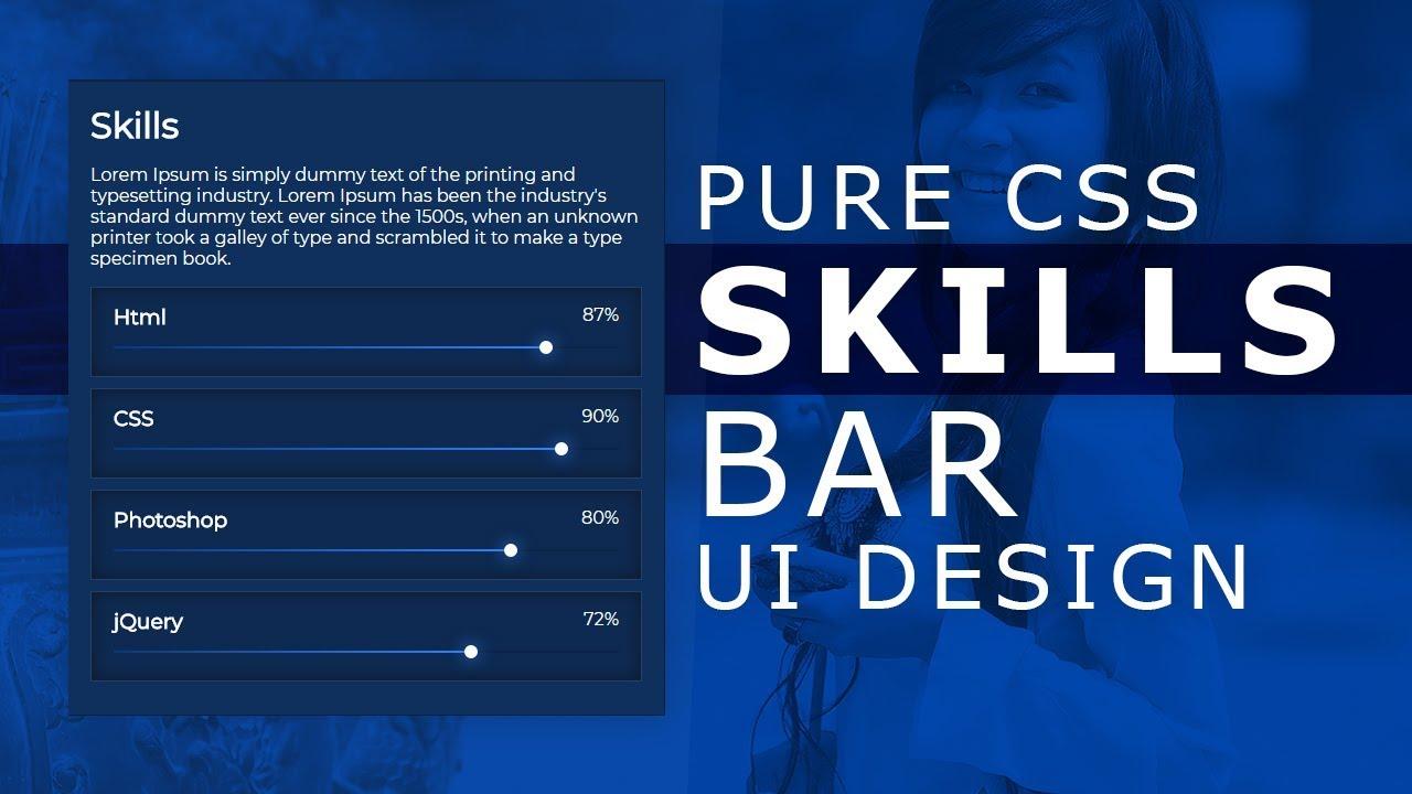 Pure CSS Skills Bar UI Design - Html5 Css3 Glowing Skill Bar Effects -  Horizontal Bar Chart with CSS