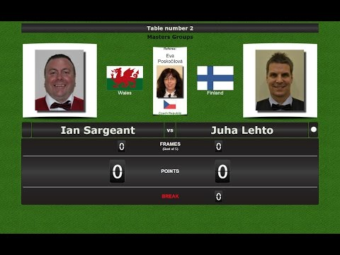 Snooker Masters Groups : Ian Sargeant vs Juha Lehto