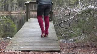 High Heels By The Lake 2 Modeling Red Velvet Stiletto Boots Jeans Uncut