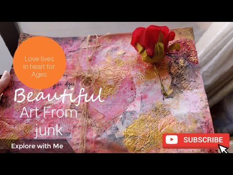 JUNK ART ON CARDSTOCK| Beautiful Mixed Media Abstract Painting
