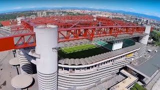 San Siro football stadium drone flight - Milan. AC Milan Inter Milan