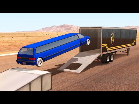 Open Truck Cargo Doors Jump Crashes - BeamNG.drive