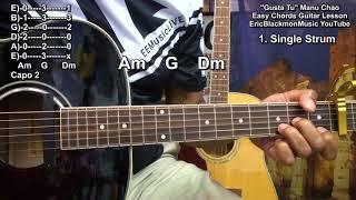 Manu Chao - Me Gustas Tu Easy Chords Guitar Lesson French Reggae EricBlackmonGuitar HD Resimi