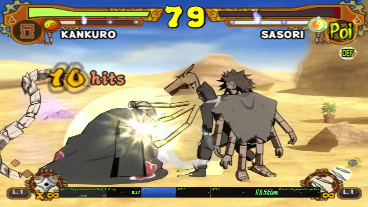 Naruto Shippuden: Ultimate Ninja 5 - Any% in 1h 58m 36s by