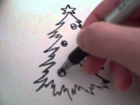 How to draw a cartoon christmas tree youtube