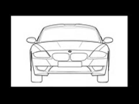 как нарисовать машину BMW:вид спереди.