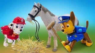 Видео про игрушки из мультфильма Щенячий Патруль. Игры в конструктор. Зоопарк для животных Чейза