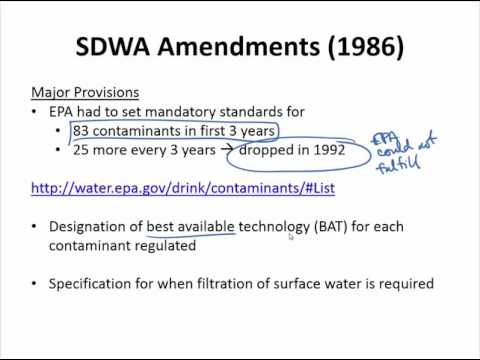 Safe Drinking Water Act - Part 1