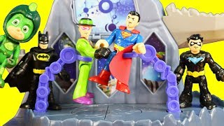 Imaginext Justice League Battles At PJ Masks Super Moon Adventure Fortress Playset ! Superhero Toys