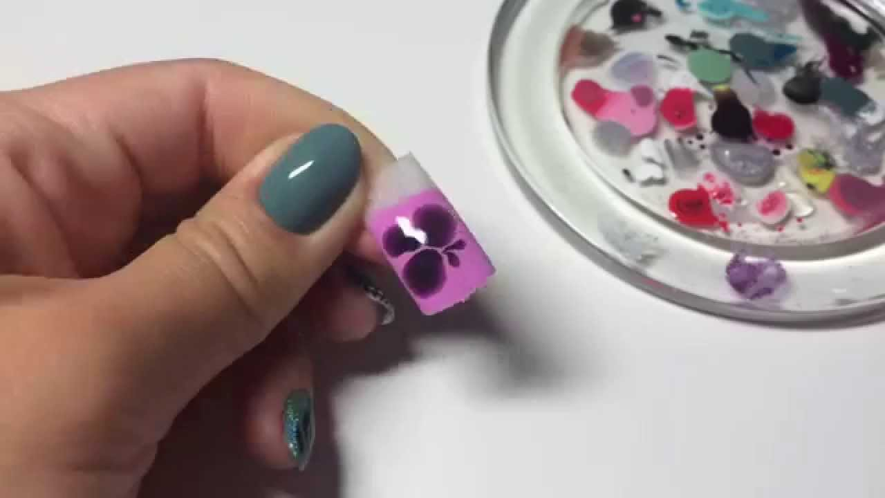 Цветы по мокрому гель лаку видео