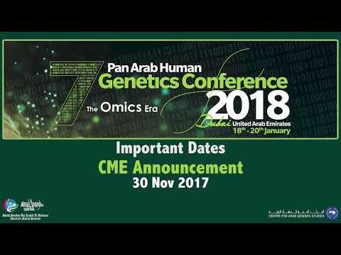 The 7th Pan Arab Human Genetics Conference - Important Dates