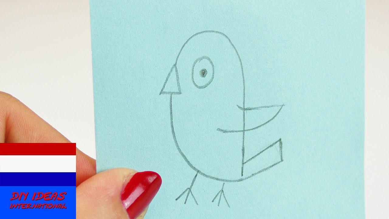 Vogel Tekenen In 60 Seconden Schattig Vogeltje Op Een Peil