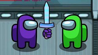 Impostor uses Knockback 1000 Sword and Yeets Crewmate