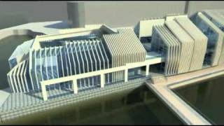 Multifinctional building at Centre Pier Galway Harbour, Ireland. 3D visualisation