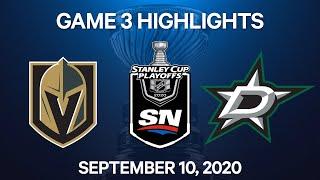 NHL Highlights | 3rd Round, Game 3: Golden Knights Vs. Stars – Sep. 10, 2020