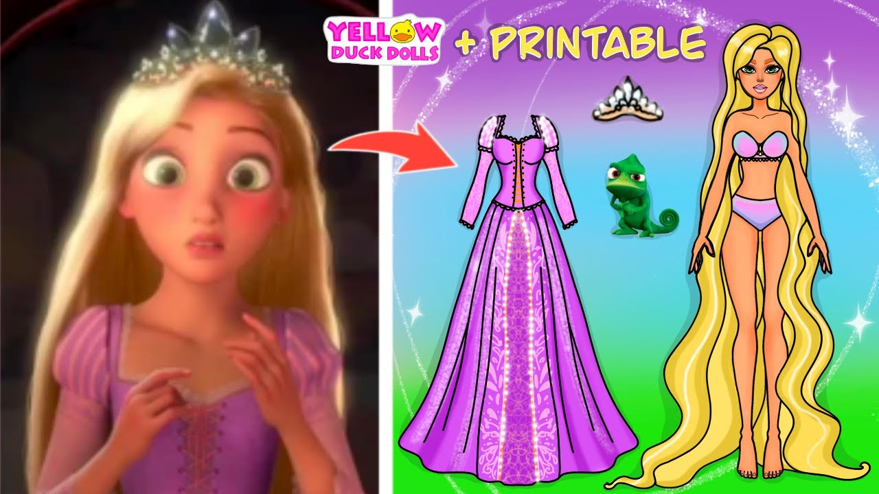 Transformation of Rapunzel into paper doll + printable #shorts