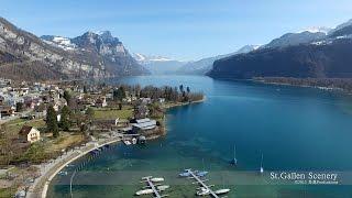 Weesen, Walensee St. Gallen SWITZERLAND 湖 DJI