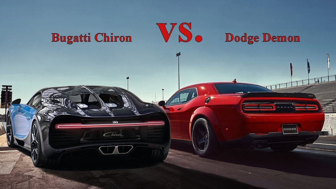 Camaro Vs Mustang >> Bugatti Chiron vs Dodge Demon 2019 - YouTube