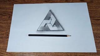 Cara menggambar 3d segitiga impossible pola geometris